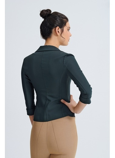 Jument Süs Cepli Kapri Kol Düğmeli Blazer Mono Kısa Ceket-Yeşil  Yeşil